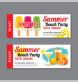 Summer beach party invitation ticket template