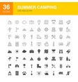 summer camping line web glyph icons vector image vector image