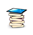 Tablet on a stock of books E-book capacity concept vector image