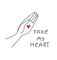 take my heart simple cozy in linear style vector image