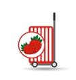 trolley shop juicy strawberry fruit vector image vector image