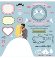 Wedding invitation decor elements set with Kissing vector image vector image
