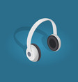 white cartoon headphones flat and shadow theme vector image