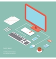 workplace in flat style vector image vector image