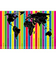 Colorful background with world map and time zones vector image