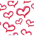 Seamless pattern - red lipstick hand drawn hearts vector image