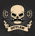 Outlaw Skull with moustache vector image