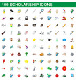100 scholarship icons set cartoon style vector image vector image