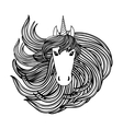 Adult coloring book page with unicorn wave style vector image vector image