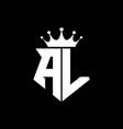Al logo monogram shield shape with crown design