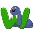 Alphabet W with Walrus cartoon vector image