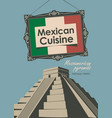 banner for a restaurant mexican cuisine with flag vector image vector image