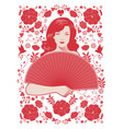 beautiful retro style woman holding a fan vector image vector image