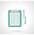 Blue clipboard with pen flat icon vector image vector image