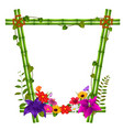 border templates with bamboo and flowers vector image