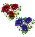 bouquets of red and blue flowers in shape of heart vector image vector image