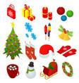 christmas celebration set icons 3d isometric view vector image