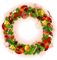 christmas wreath with fir branches and balls vector image vector image