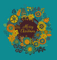 circle frame merry christmas wreath made vector image