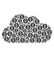 cloud figure of bank seal icons vector image vector image