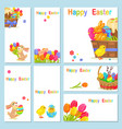 concept of happy easter chicken flowers bunny vector image vector image