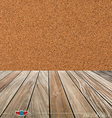 Cork board and wood floor vector image