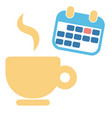 cup of coffee and month calendar for business vector image