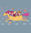 cute cartoon children are flying on a magic horse vector image vector image
