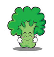 cute smile broccoli chracter cartoon style vector image vector image
