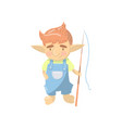 cute troll boy character funny creature standing vector image