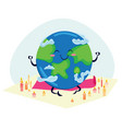 earth day planet sits on rug for yoga and vector image vector image