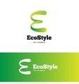 green gradient E letter logo Ecology vector image