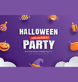 halloween party invitation with paper art element vector image