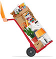 hand truck and package for transportation vector image