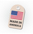 hang tag made in america with flag on isolated vector image vector image