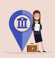 happy businesswoman or manager with map pointer vector image vector image
