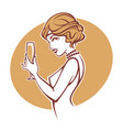 happy hours portrait of old fashioned retro vector image vector image