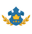 heraldic shield with stars rate and golden crown vector image