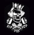 hip-hop poster with skull gangster rap vector image vector image