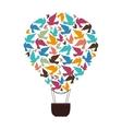hot balloon basket bird icon vector image vector image