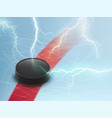ice hockey banner with puck and lightnings vector image vector image