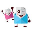 kawaii pair email envelope cartoon characters vector image vector image