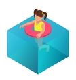 Little girl swimming in inflatable ring Flat 3d vector image vector image