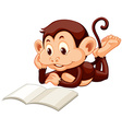 Little monkey reading a book vector image vector image