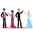 man and woman in evening dress vector image vector image