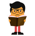 man reading a book on white background vector image vector image