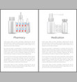 medication and pharmacy poster medical bottles set vector image vector image