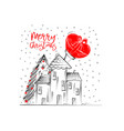 merry christmas greetings cards hand drawn with vector image vector image