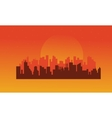 On orange backgrounds urban silhouettes vector image vector image