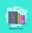 personal diary thin line concept vector image